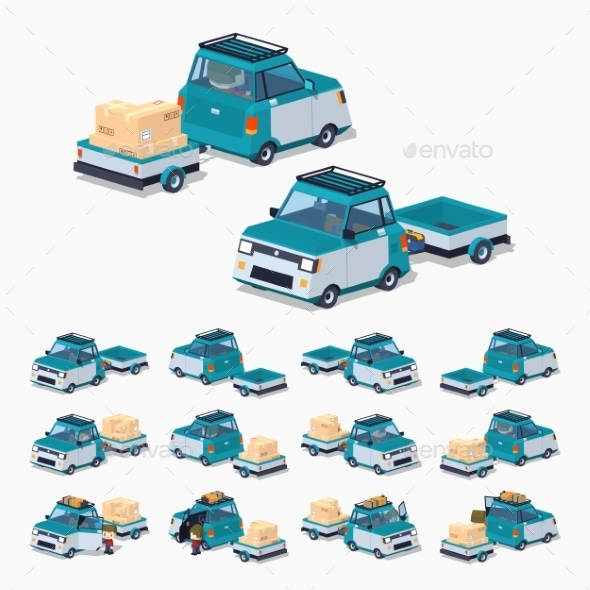Blue Compact Car with Trailer - Man-made Objects Objects
