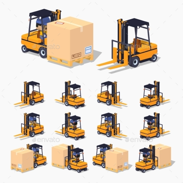 Orange Forklift with Cardboard Box - Man-made Objects Objects