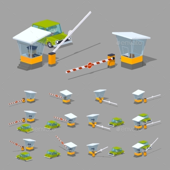 Barrier, Booth and Green Car - Man-made Objects Objects