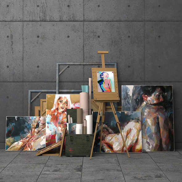 A set of decorative elements with easel - 3DOcean Item for Sale