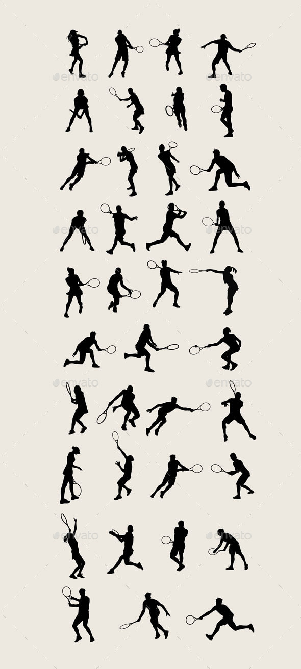 Tennis Sport Silhouettes  - Sports/Activity Conceptual