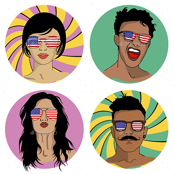 Girls and Boys in Sunglasses with USA Flag - People Characters