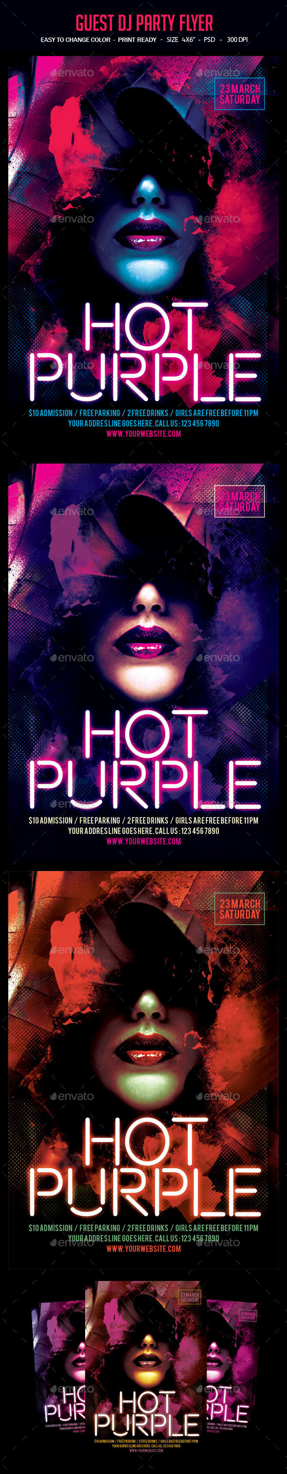 Hot Purple Party Flyer - Clubs & Parties Events