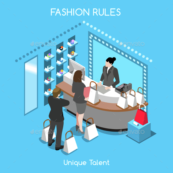 Fashion Moods 07 People Isometric - Commercial / Shopping Conceptual