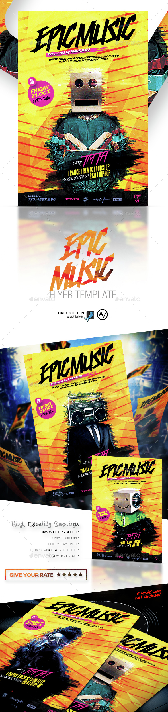 Epic Music Flyer Template - Clubs & Parties Events