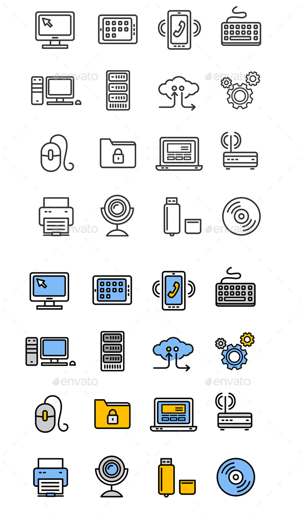 Computer Technology Outline Icon Set - Web Technology