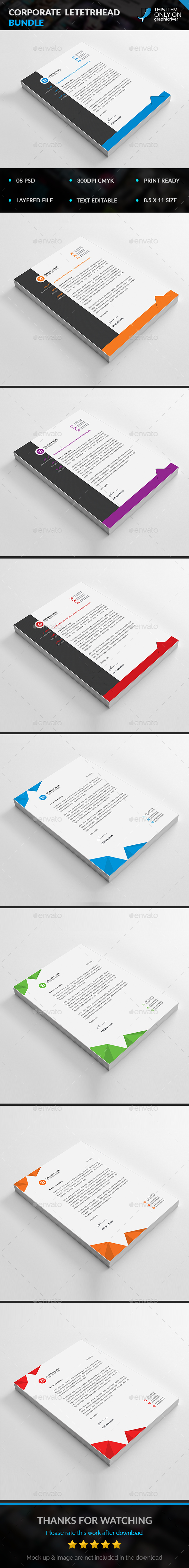 Corporate Letterhead Bundle - Stationery Print Templates