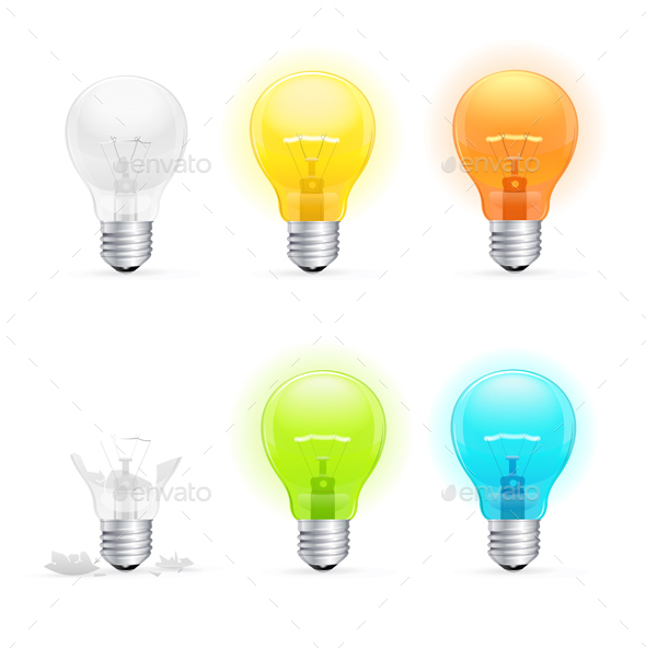 Colorful Light Bulbs Set - Man-made Objects Objects