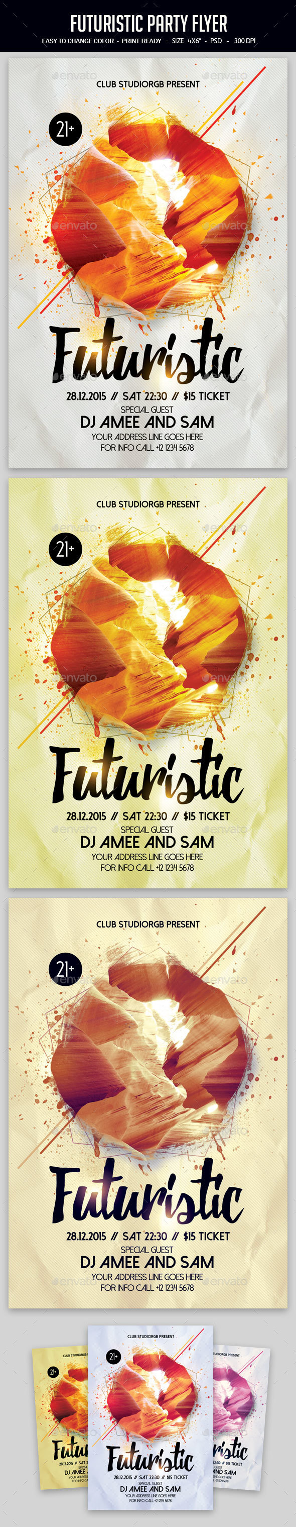Futuristic Party Flyer - Clubs & Parties Events