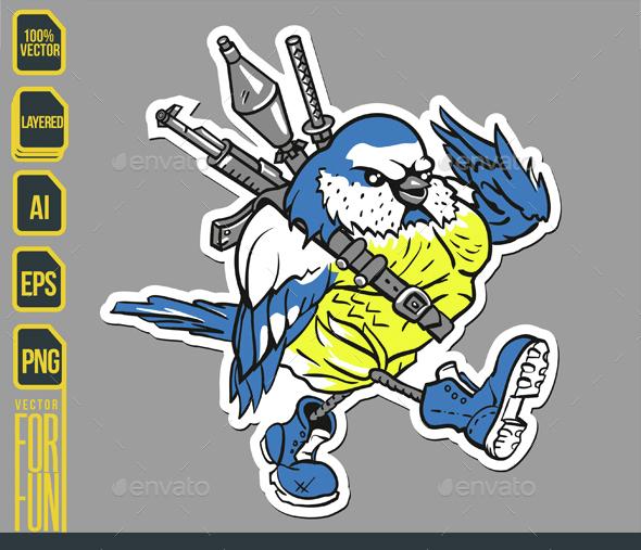 Warrior Bird Sticker - Animals Characters