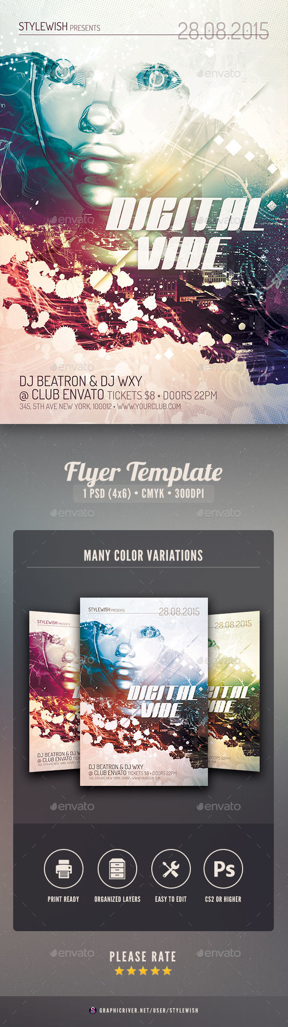 Digital Vibe Flyer - Clubs & Parties Events