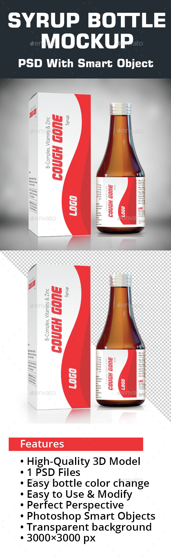 Syrup bottle Mockup - Miscellaneous Packaging