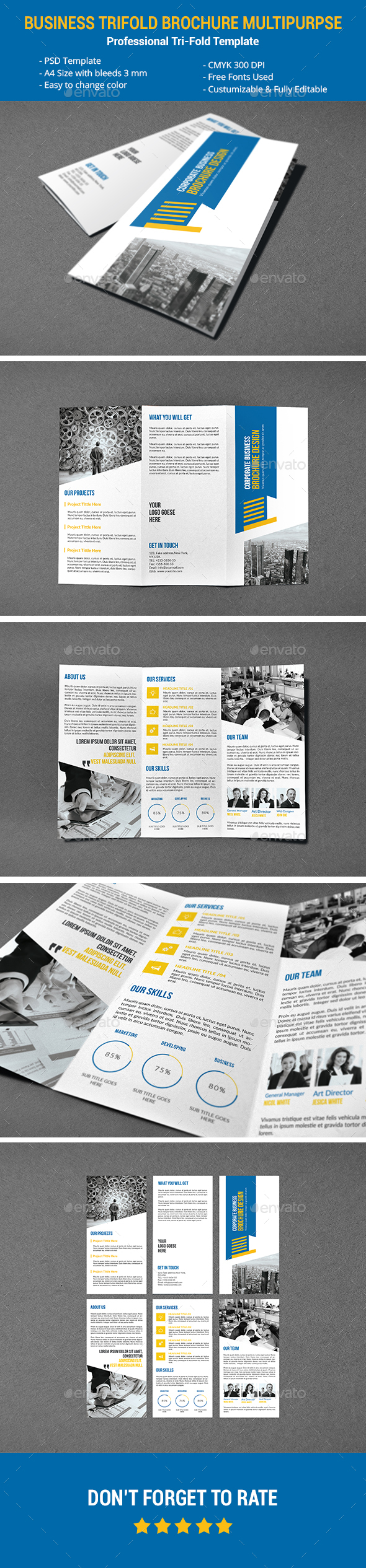 Business Tri-fold Brochure Multipurpse - Corporate Brochures