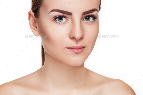 The beautiful face of young woman with cleanf fresh skin - Stock Photo - Images