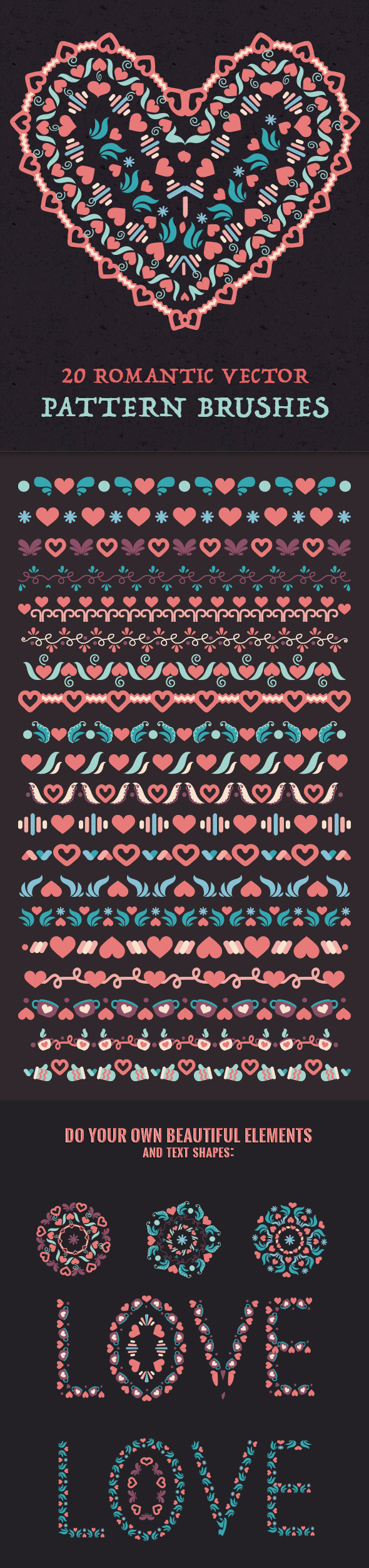 20 Romantic Vector Pattern Brushes - Artistic Brushes