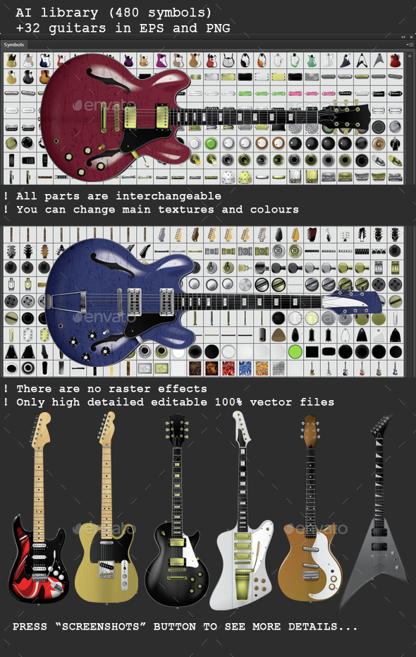 Guitar Creation Kit with 32 guitars - Man-made Objects Objects