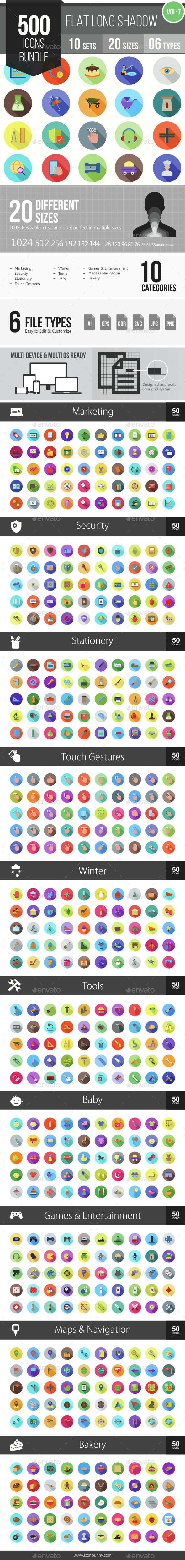 500 Vector Long Shadow Colorful Flat Icons Bundle (Vol-7) - Icons