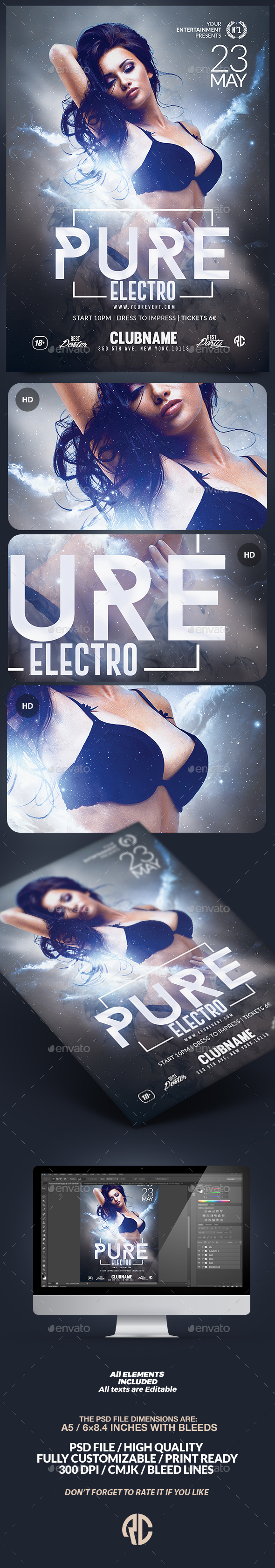 Pure Electro Flyer | Psd Template - Clubs & Parties Events