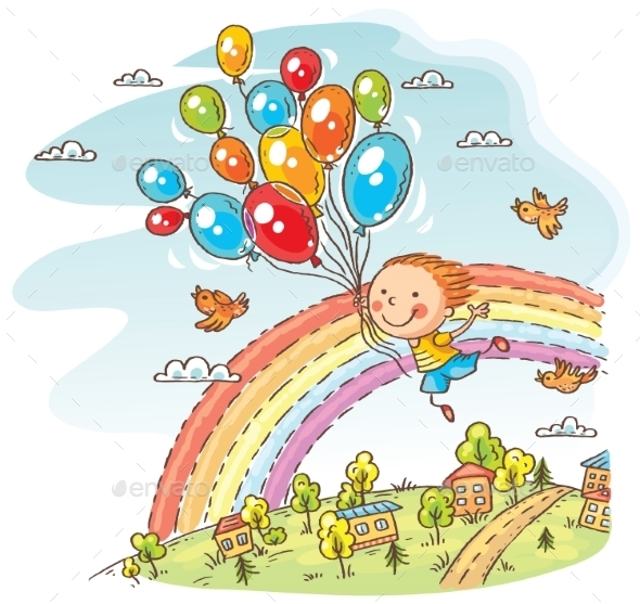 Happy Child Flying with Balloons - People Characters