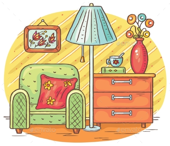 Interior Drawing With An Arm-chair, Lamp And Chest - Miscellaneous Vectors