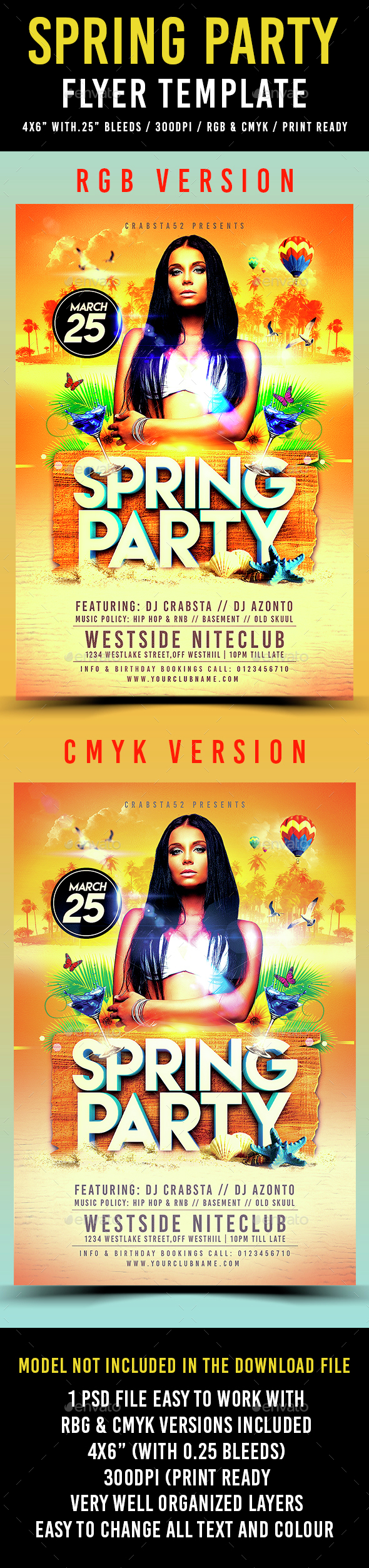 Spring Party Flyer Template - Flyers Print Templates