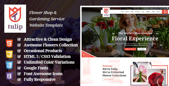 Tulip - Flower Shop & Gardening Service Website Template - Retail Site Templates