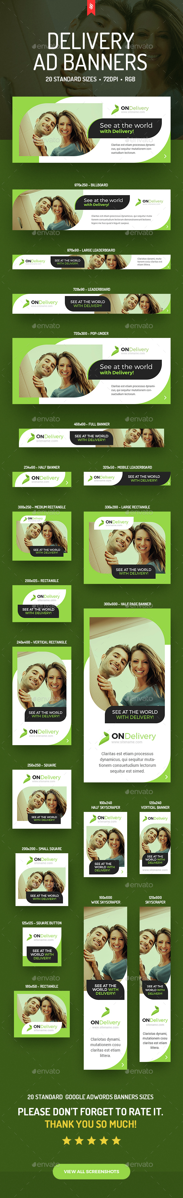 ONDelivery - Delivery Ad Banners Set - Banners & Ads Web Elements