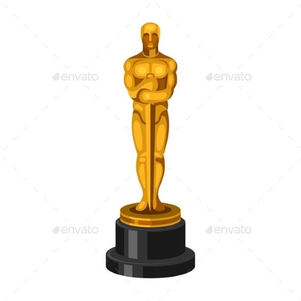Golden Statue on White Background - Decorative Symbols Decorative