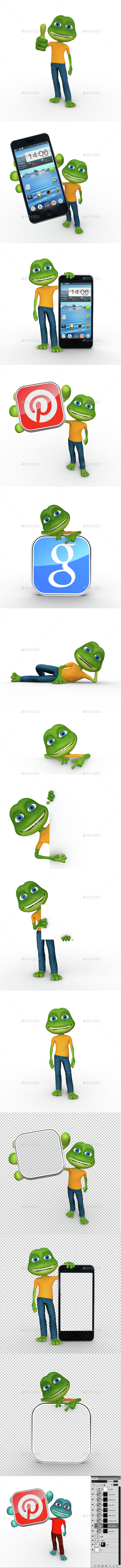 Fritzy Frog 3D Character - Characters 3D Renders