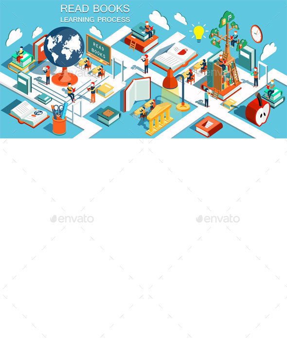 Online Education Isometric Flat Design - Concepts Business