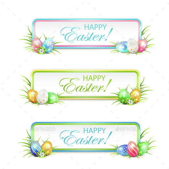 Easter Banners with Multicolored Eggs - Miscellaneous Seasons/Holidays