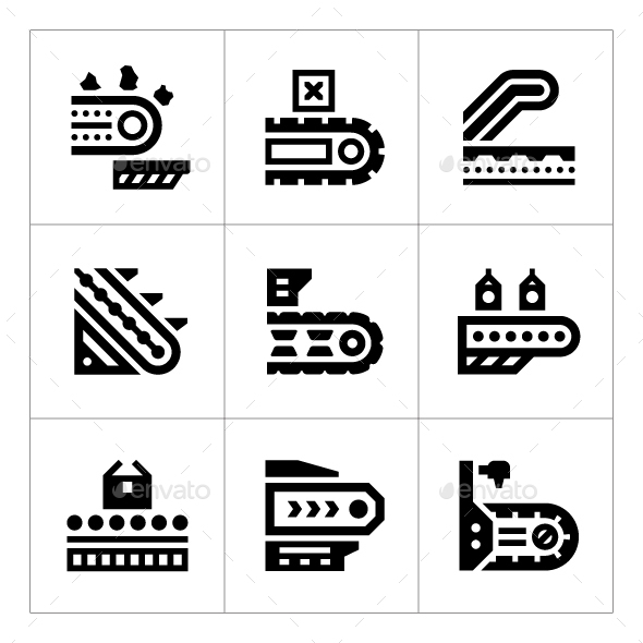 Set Icons of Conveyor - Man-made objects Objects