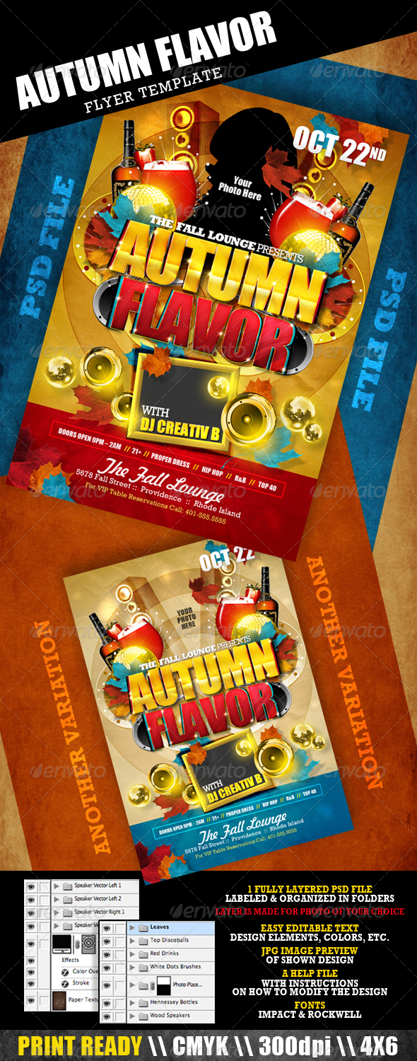 Autumn Flavor Flyer Template - Clubs & Parties Events