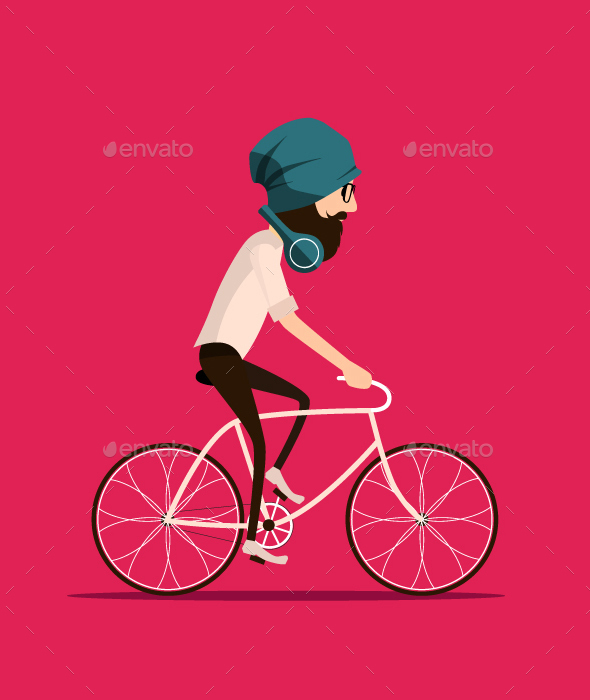 Hipster Bearded Man Riding Vintage Bicycle - People Characters