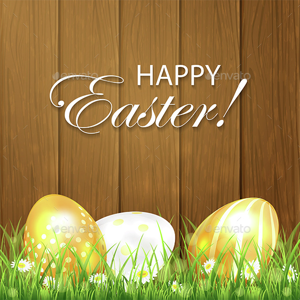 Golden Easter Eggs in the Grass on Wooden Background - Miscellaneous Seasons/Holidays