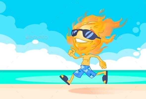 Sun Summer Boy Running on Beach Cartoon - Miscellaneous Characters