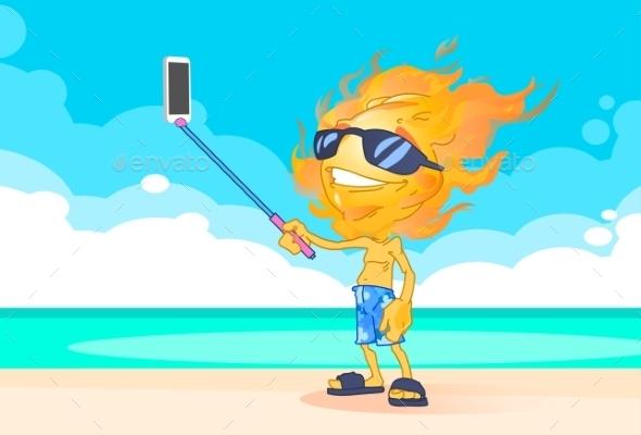 Sun Summer Boy Taking Selfie - Miscellaneous Characters