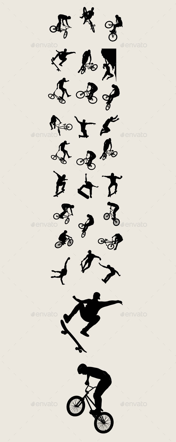 Bike Sport Silhouettes - Miscellaneous Characters