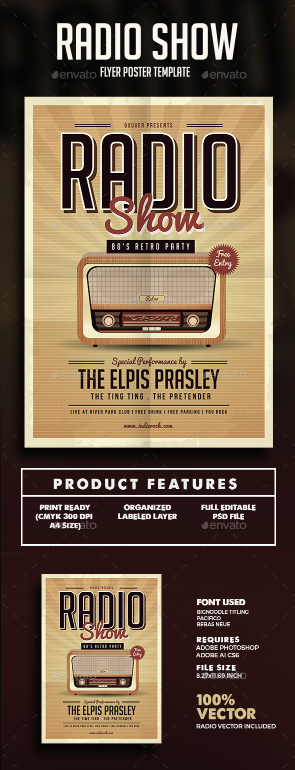 Retro Radio Party Flyer - Events Flyers