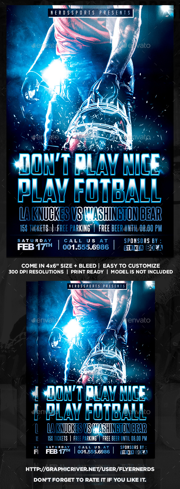 Don't Play Nice Play Football Sports Flyer - Sports Events