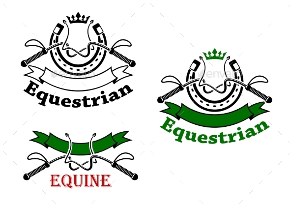 Equestrian Sport Emblems With Whips And Horseshoes - Sports/Activity Conceptual