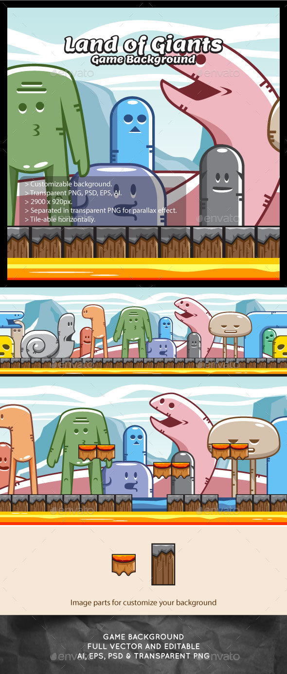 Land of Giant Monsters Game Background - Backgrounds Game Assets
