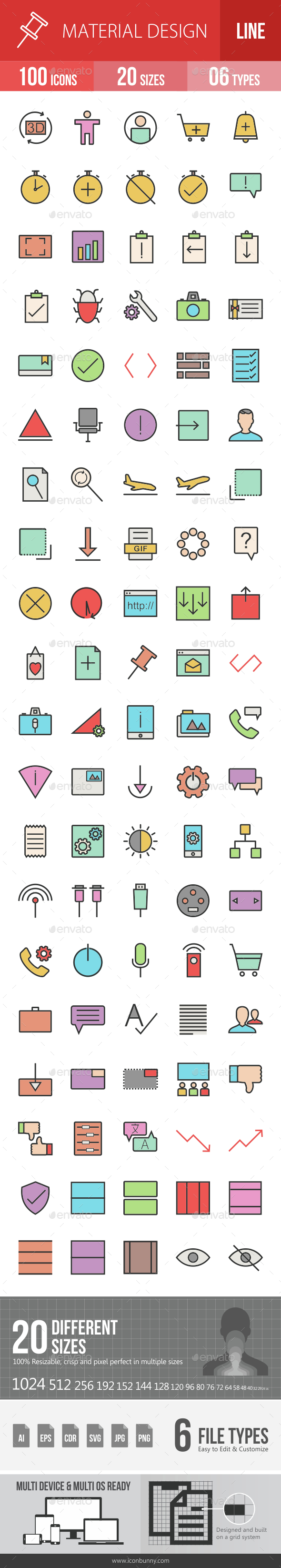 Material Design Filled Line Icons - Icons