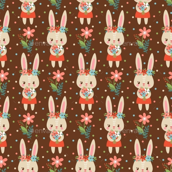 Baby Background In Vector With Bunnies. - Flowers & Plants Nature