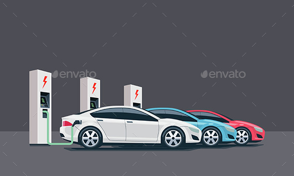 Electric Cars Charging at the Charging Station - Man-made Objects Objects