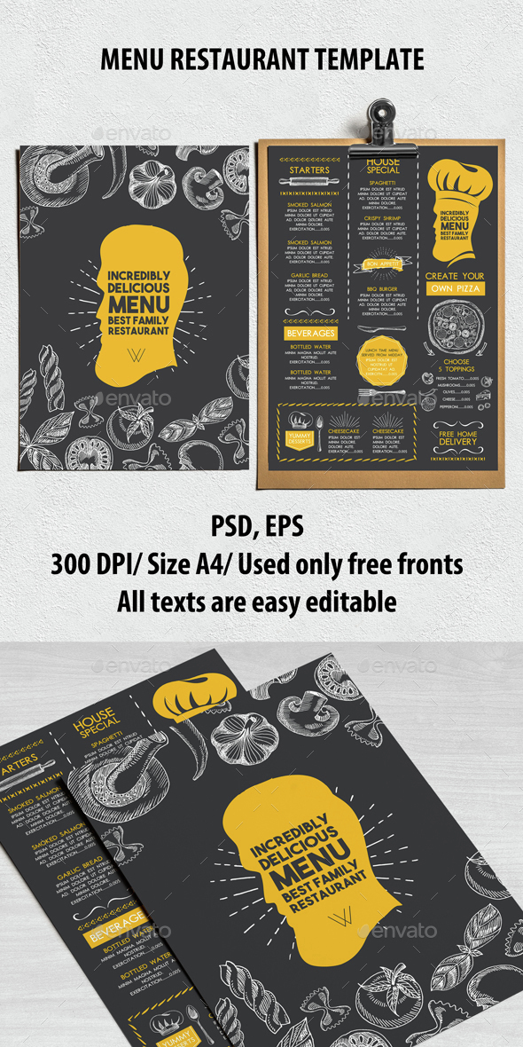 Food Restaurant Menu - Food Menus Print Templates