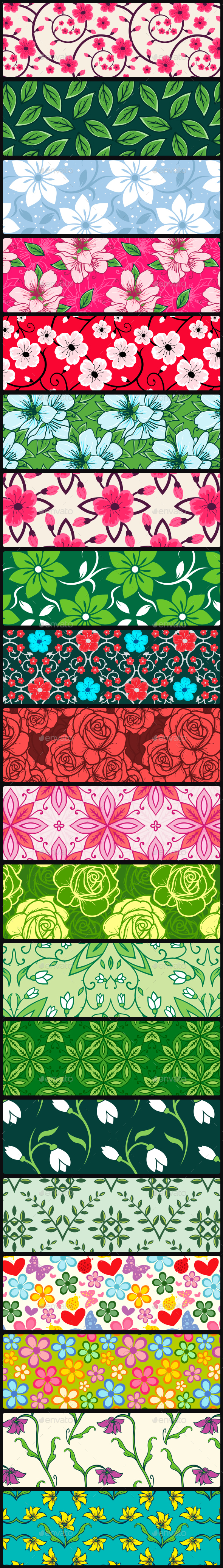 20 Spring Floral Seamless Vector Patterns - Patterns Decorative