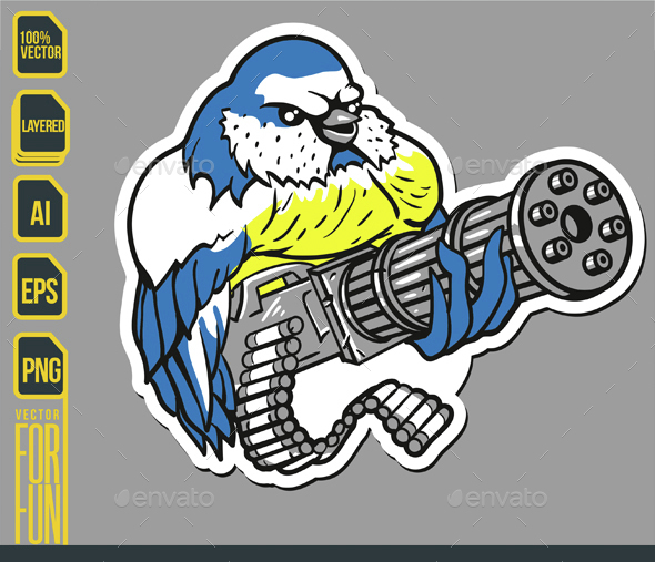 Gunner Bird Sticker - Animals Characters