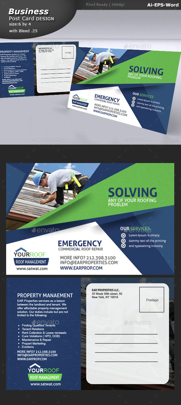 Roof Repair Service Post Card Design - Cards & Invites Print Templates