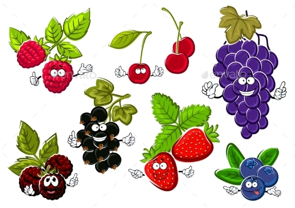 Garden Berry Fruits Happy Characters - Food Objects